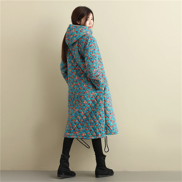 2020 NEW! Women Casual Style Long Linen and Cotton Small Flower Printed Quilted Coat (inner with velvet)