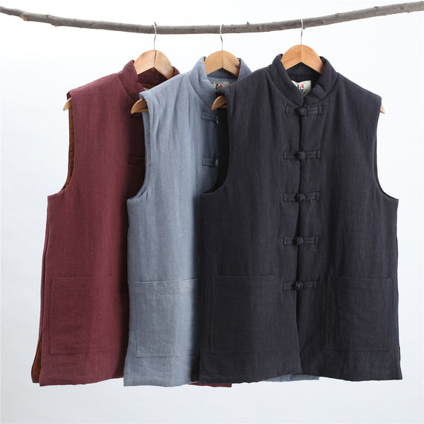 2019 NEW! Men Asian Style Water-washed  Pure Color Linen and Cotton Tank