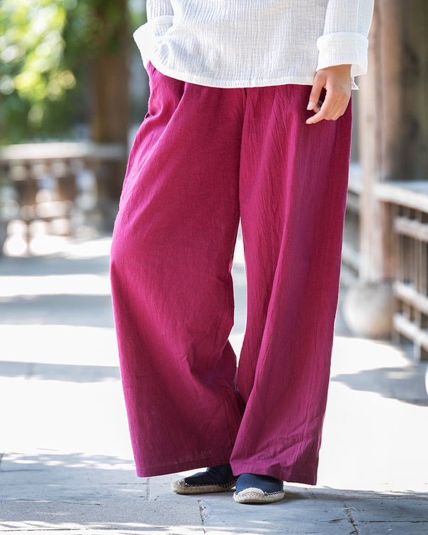 Women Loose Water Wash Line and Cotton Wide Leg Pant