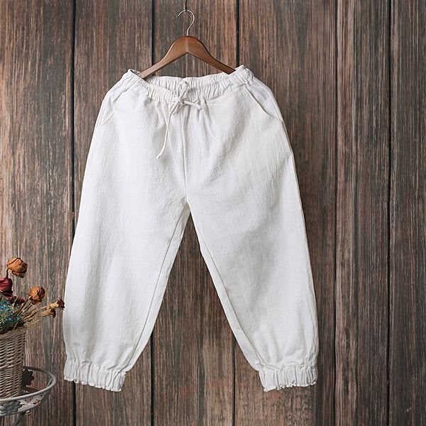 Women Causal Linen and Cotton Lantern Cropped Capri