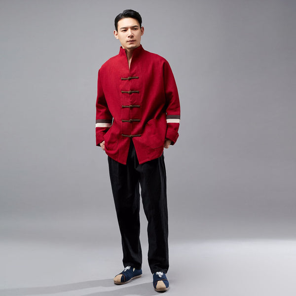 Men Hangfu Kungfu Zen Style Men Long Sleeve with Stripe Linen and Cotton Top