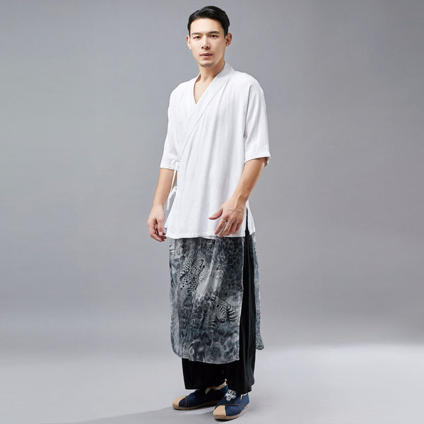 Men Tai Chi Style Hangfu Kungfu Zen Style Short Sleeve Linen and Cotton Tops