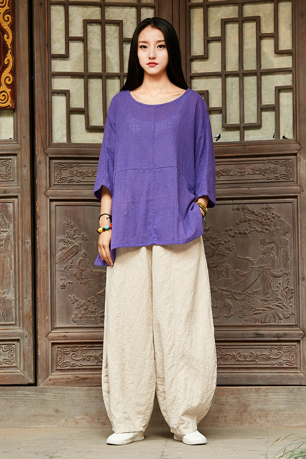 Simple Pure Color Linen and Cotton Loose Style Women Middle Sleeve Blouses