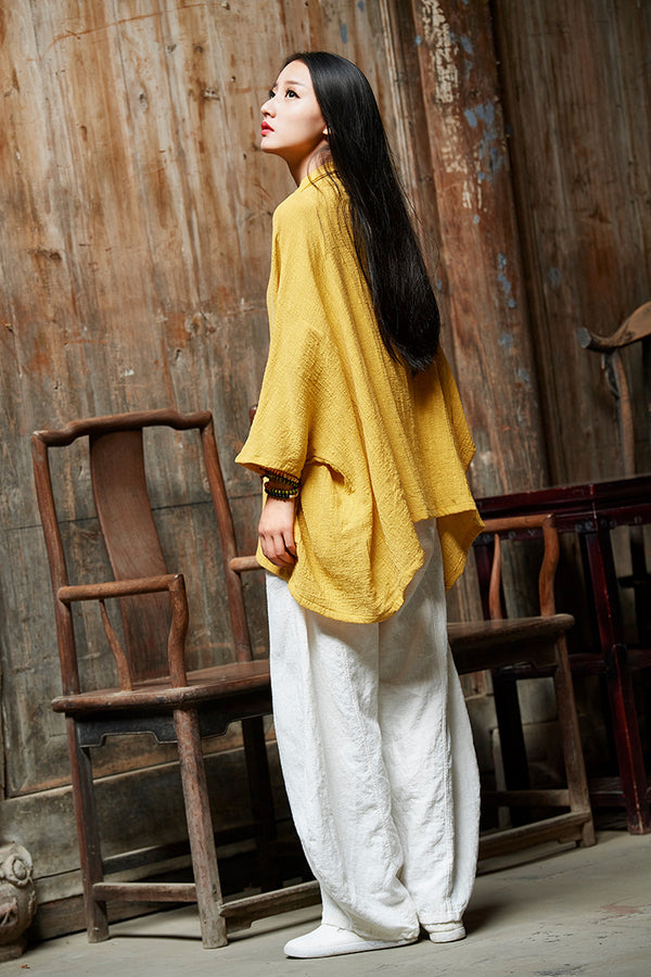 2019 Autumn NEW! Simple Loose Style Linen and Cotton Middle Sleeve Cardigan Shirt