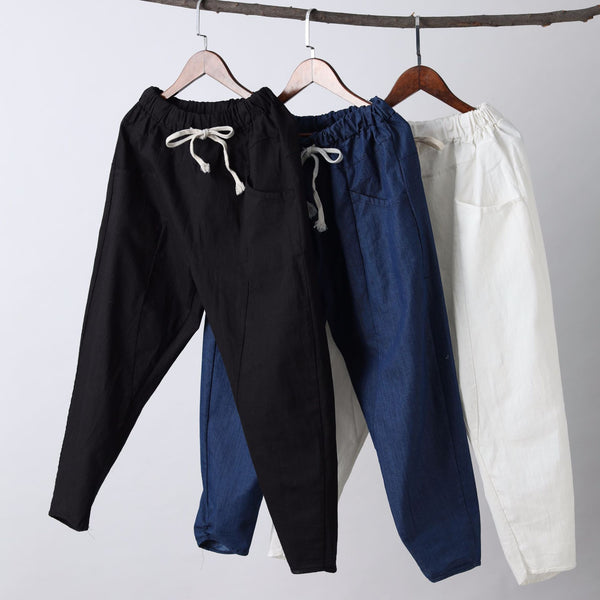 Men New Style Causal Linen and Cotton Capri Small Leg Opening Pants
