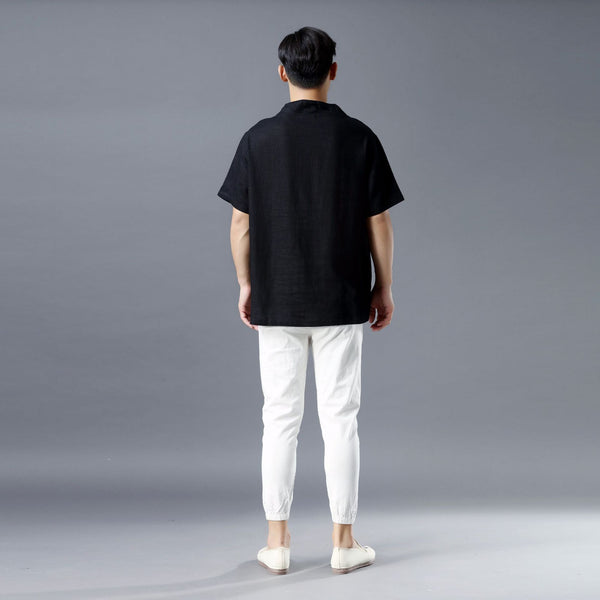 Men Pullover Short Sleeve Linen and Cotton Shirts Tops