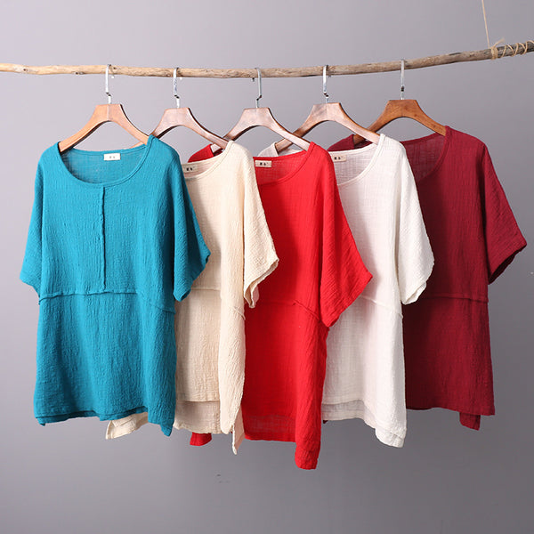 Simple Style Women Short Sleeve Linen and Cotton T-shirt