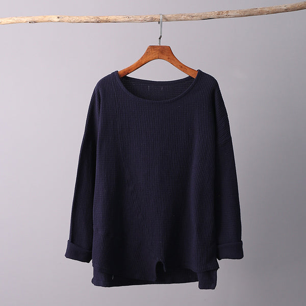 Simple Retro Style Women Long Sleeve Linen and Cotton T-shirt