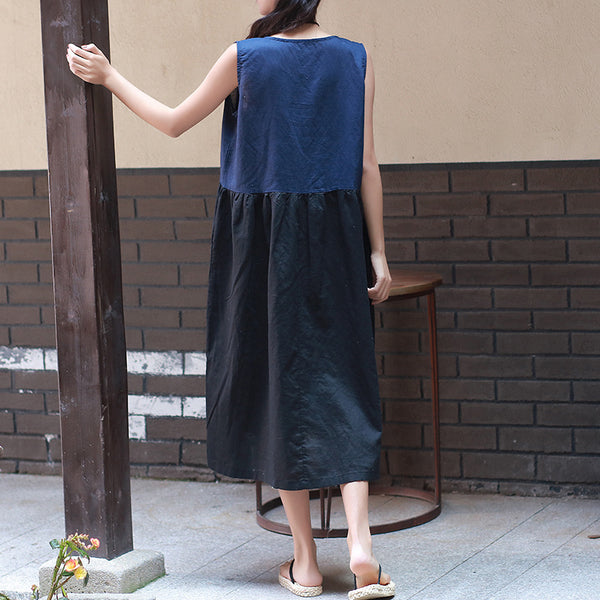 Linen Sleeveless Dress/ Simple Linen Dress/ Summer Linen Dress/ Linen Tea Length Dress/ Maternity dress/ Casual dress