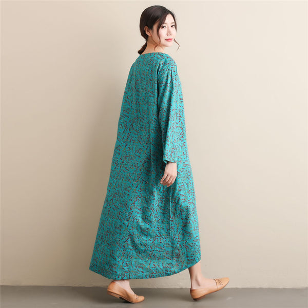 2020 NEW! Women Simple Style Small Flower Printed Long Sleeved Linen and Cotton Thin Dress