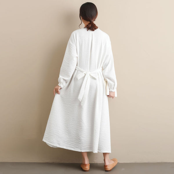 2020 NEW! Women Modern Style Long Sleeved Wrinkle Linen and Fibre Dress