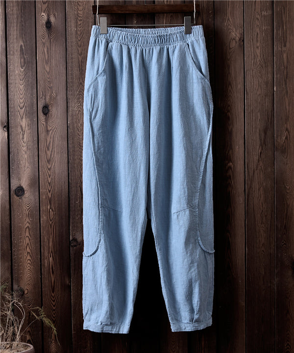 Women Retro Style Water-washed Linen and Cotton Straight Pants