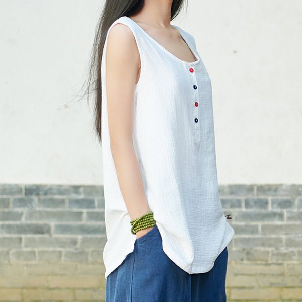 Simple New Style Women Cotton and Linen sleeveless summer thin loose vest style t-shirt with pocket and colorful button