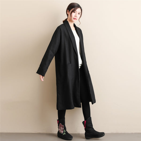 Women Simple Pure Color Linen and Cotton Coat