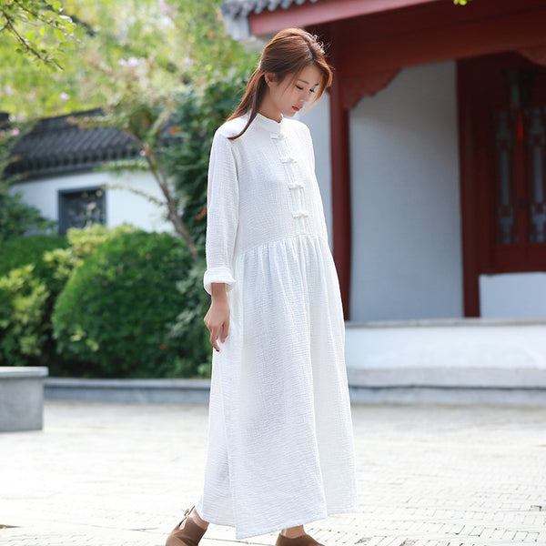 White Dress/ Maternity dress/ Linen Dress/ Summer Dress/ Tea Length Dress/ Casual dress/ High Waist Dress