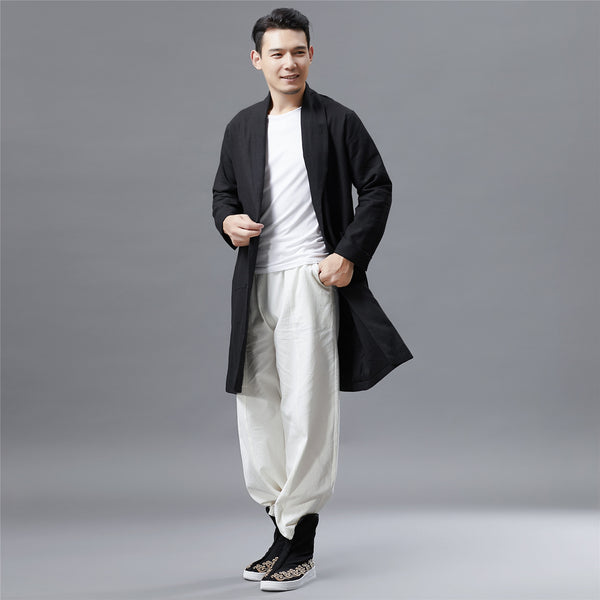 Men Retro Style Linen and Cotton Ankle Lenght Coat