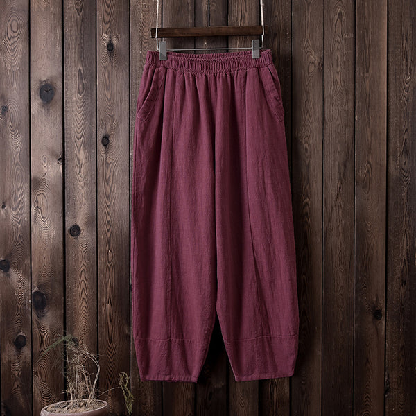 Women Retro Style Water-washed Linen and Cotton Lantern Pants