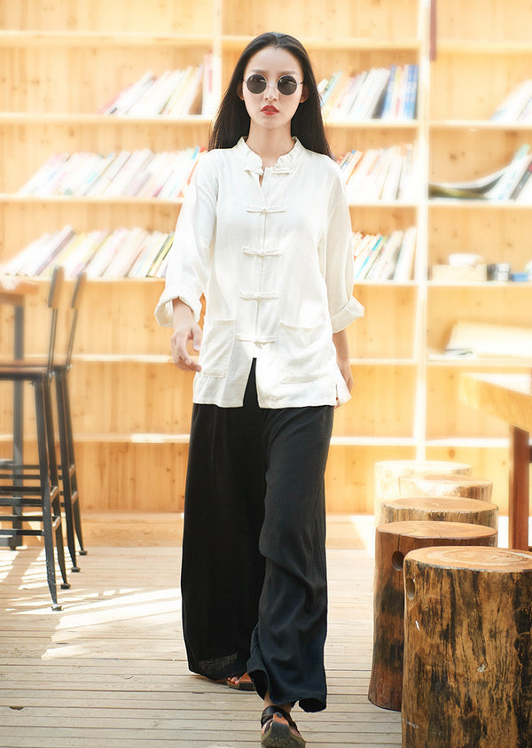 Retro Asian Style Linen and Cotton Cardigan Top – Pure Color Asian Style Women Long Sleeve Linen Cardigan Blouses