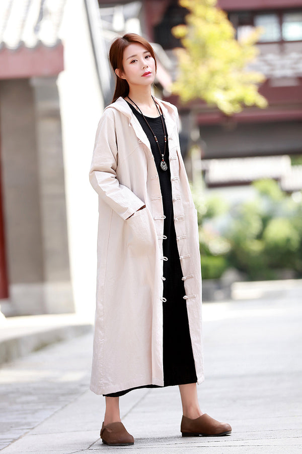 Women Witch Style Linen and Cotton Hoodie Coat