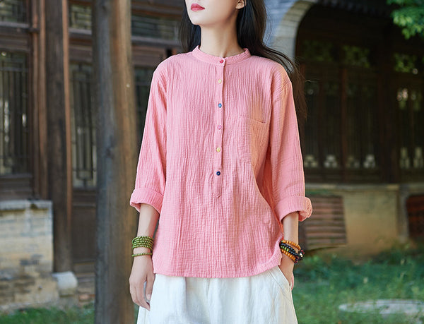 Pure Color Women Long Sleeve Linen Cardigan Blouses with rainbow color button