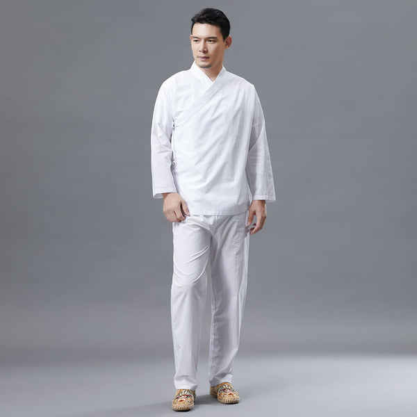 2020 NEW! Men Long Sleeve Stand Collar Hanfu Set (Top + Pants)