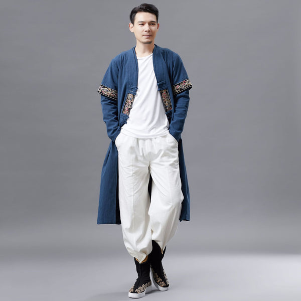 Men Asian Style Double-layered Linen and Cotton Long Coat
