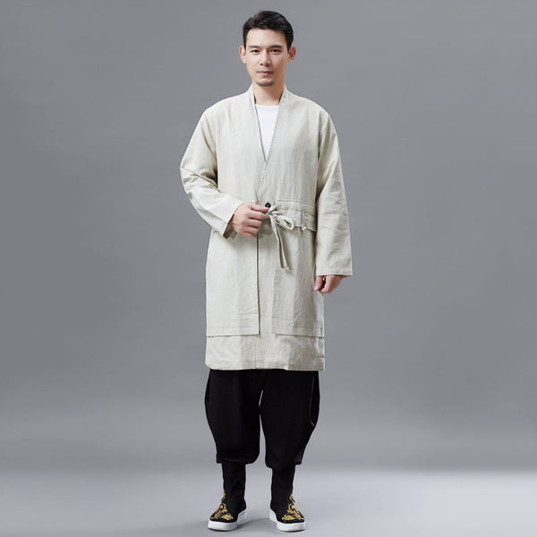 2020 NEW! Men Retro Classic Style Linen and Cotton V Neck Coat