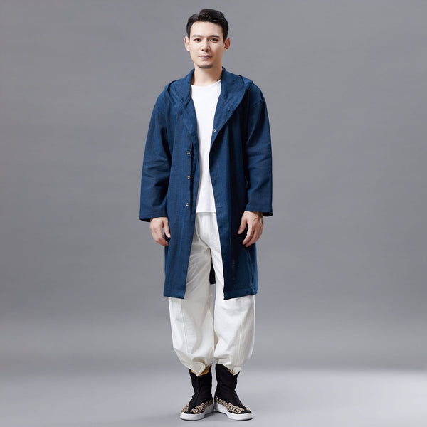 2019 NEW! Men Linen and Cotton Middle Length Coat Hoodie