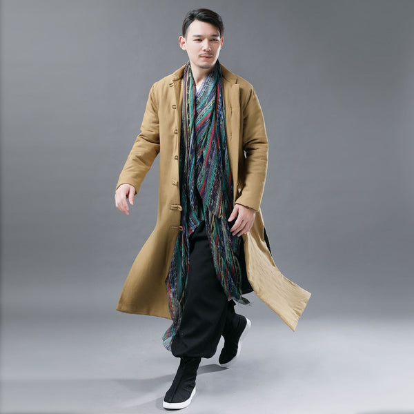 Men Asian Style Linen and Cotton Long Quilt Coat
