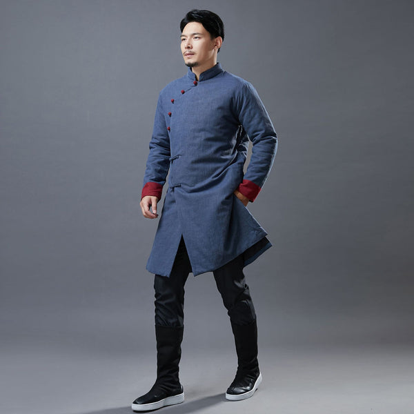 2020 NEW! Men Simple Pure Color Style Linen and Cotton Middle Length Side Buckle Quilted Jacket