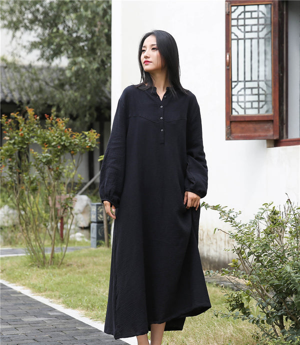 2020 NEW! Retro Chinese Style Women Winkled Linen and Cotton Long Sleeve Dress