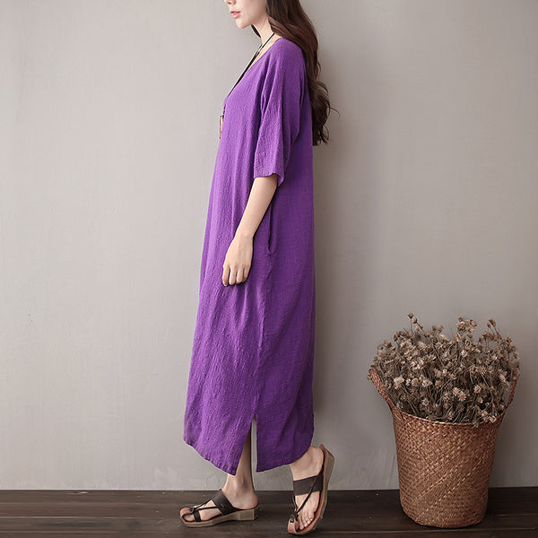 Women Pure Color Artistic Loose Sleeve Dress