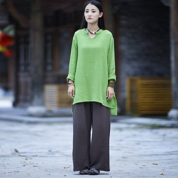 Women Casual Large Loose Wide Leg Linen and Cotton Pants