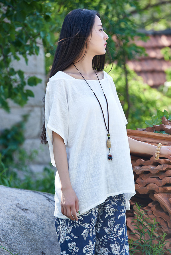 Original Simple Loose Women cotton and linen Half-sleeved Round Neck T-shirt