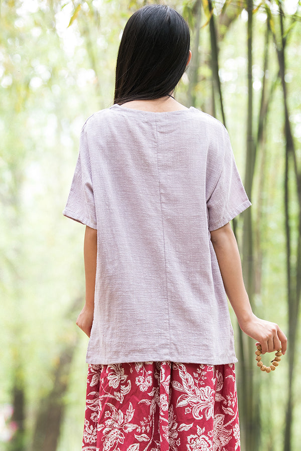 Original Retro Women Cotton and Linen Short Sleeve T-shirt