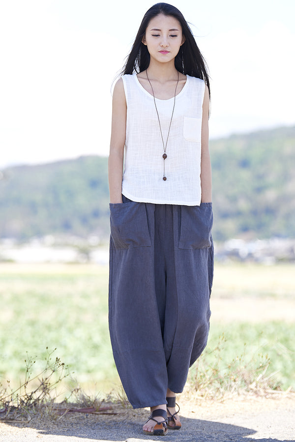Women Retro Ramie Pure Hemp Sand Washed Big Pocket Pants