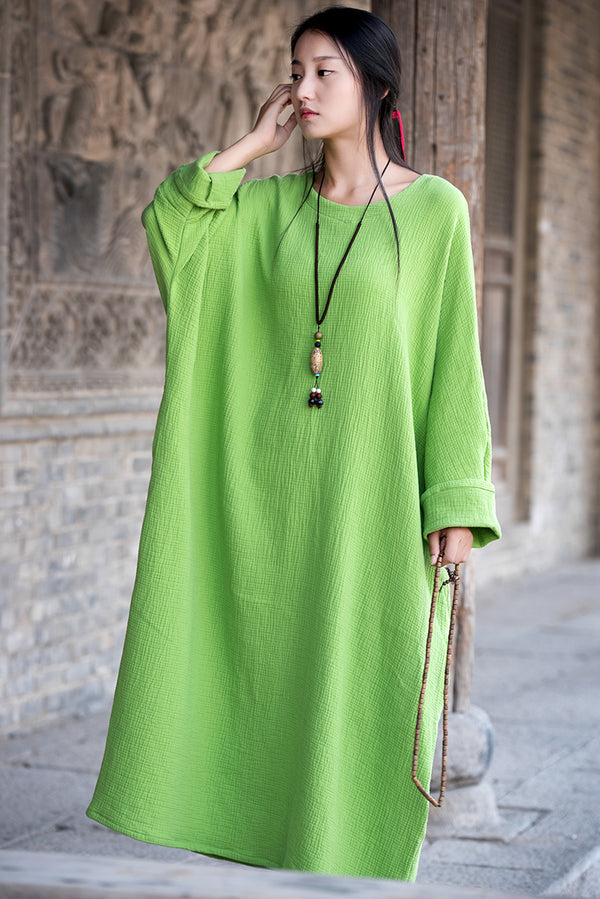 Women Asian Arts Retro Style Loose Cotton and Linen Dress