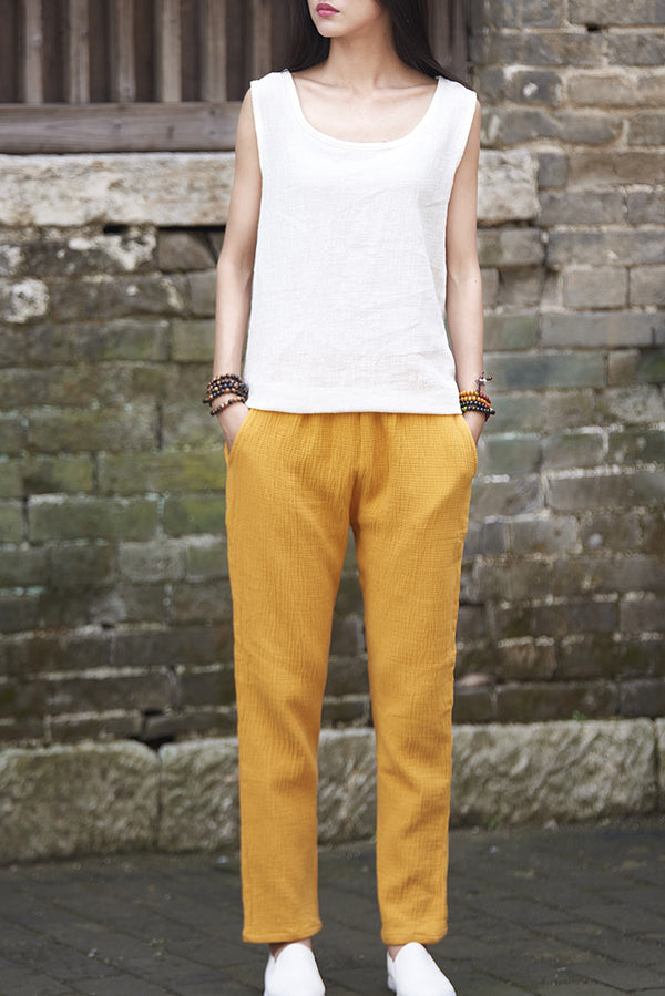 Women Cotton and Linen Casual Cropped and Capri Pant