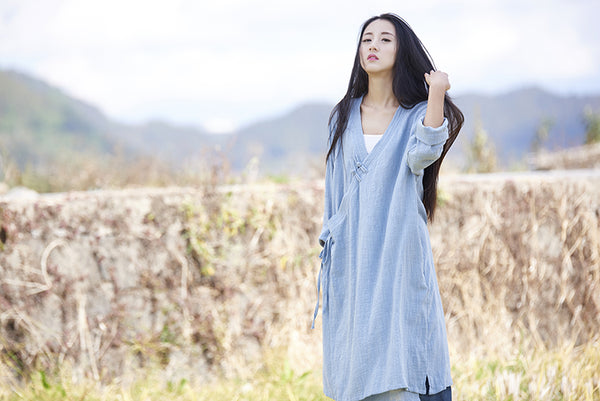 Women Thin and Soft Linen and Cotton Long-sleeved Coat