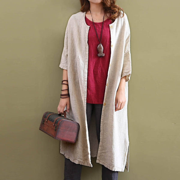 Women Leisure Pure Color Loose Linen and Cotton Coat