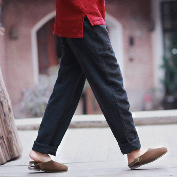 Women Casual Linen and Cotton Pants