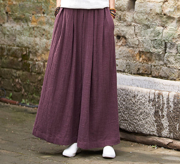 Women Loose Wide Leg Yoga Skirt Type Linen and Cotton Pants