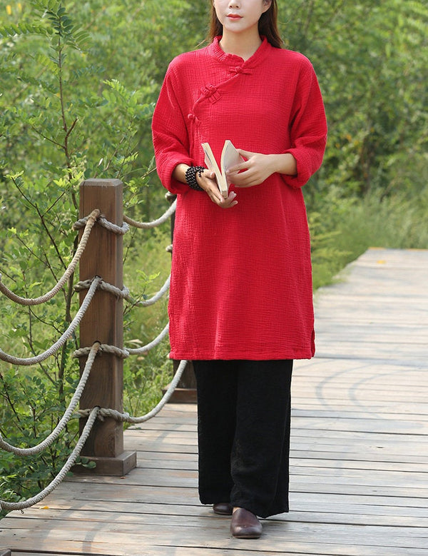 Women Retro Chinese Style Loose Long Sleeved Wrinkled Tunic
