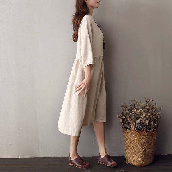Women Cotton & Linen Round-neck Half Sleeved Loose Dress