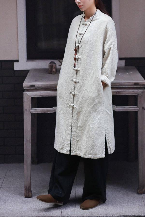 Women Retro Collar Buckle Pure Linen and Cotton Cardigan Shirt Style Long Coat