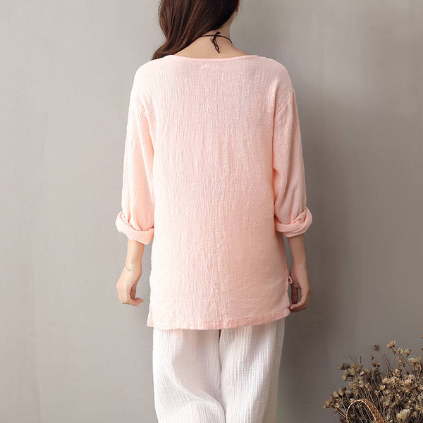 Women Chinese Style Art Retro V-necked Linen & Cotton Wrinkled long-sleeved Blouses