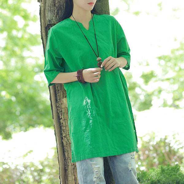 Women Linen and Cotton V-neck Loose Dress Style Long Section T-shirts