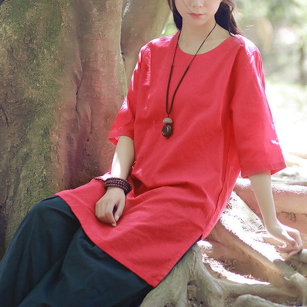 New Style art Pure Color Round Neck Women Linen and Cotton Long T-shirt