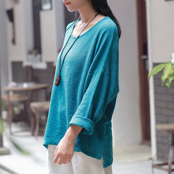 Autumn and winter cotton and linen T-Shirt – Round neck loose long-sleeved T-shirt
