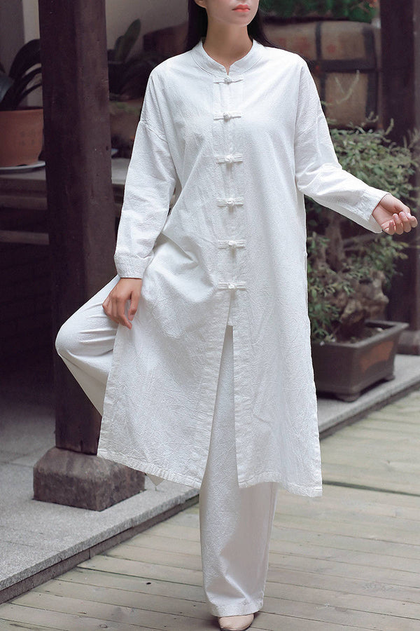 Women KungFu Style Buckle Collar Long Sleeved Linen and Cotton Cardigan Coat